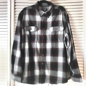 *Faded Glory* Red & Black Plaid Button Down Shirt*